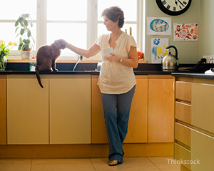 Woman petting her senior cat