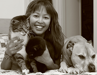 dr. justine lee with her pets