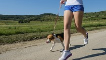 Girl jogging with her dog
