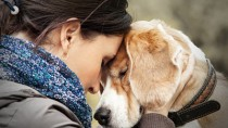 Sad woman with dog