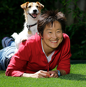 """Dr. Sophia Yin with her dog"